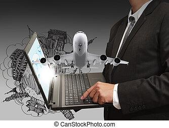 business, ordinateur portable, homme, rêve, voyage, ...