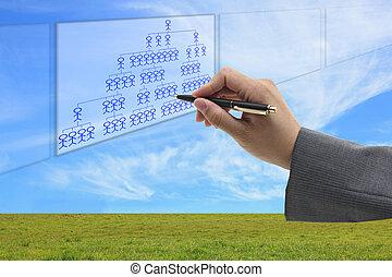 business organization chart - Asian businessman writing...