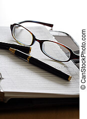Business organizer - An organizer and a pair of glasses