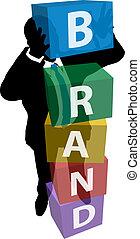 business osoba, budova, produkt, značkovat věrnost