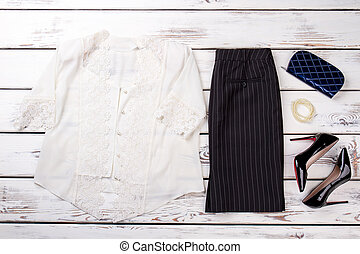 Business outfit with accessories. Fancy white shirt, black ...