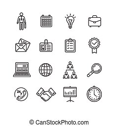 Business Outline Black Icons Set. Vector