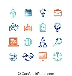 Business Outline Colorful Icons Set. Vector