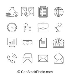 Business outline icons set