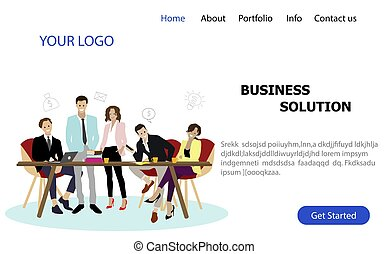 business, page, atterrissage, service, solution