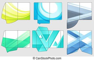 Business papers folder template. Paper presentation files pocket folders, color company templates layout vector set