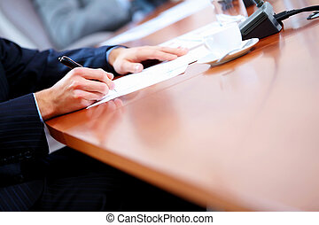 business papers on the table - Image of a business work...