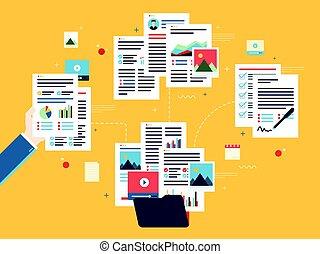 Business paperwork organization concept.