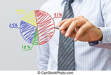 business, part, diagramme, main, dessin, marché