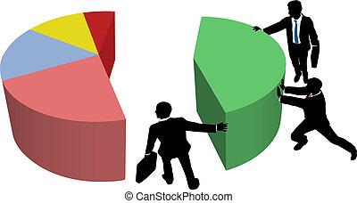 business, part, ventes s'associent, grandir, marché
