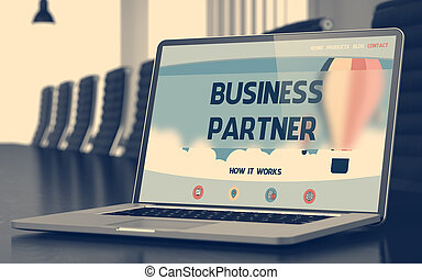 Business Partner Concept on Laptop Screen. 3D.