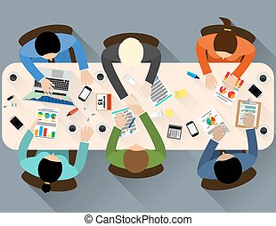Business partner handshake deal contract meeting. Group of people Office table top view. Business people handshake meeting signing agreement. Vector flat design for business web infographic concept