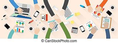 Business partner handshake deal contract meeting. Group of...