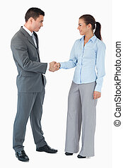 Business partner shaking hands against a white background