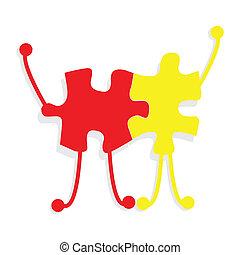 Business partners building a company concept puzzle -...