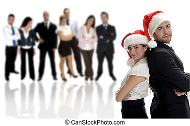 business partners celebrating christmas with group of people