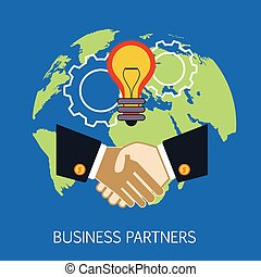 Business Partners Concept Art Flat Vector Illustration In Bright Colors Infographic Style With Text