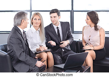 business partners discussing a new contract. concept of dialogue