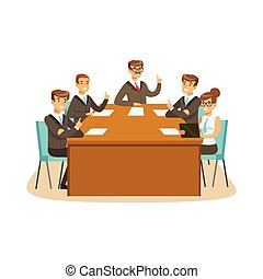 Business partners discussing and voting at meeting in an office vector Illustration