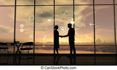 Business partners shake hands on the background of corporate infographics