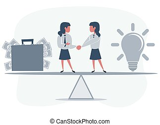 Business partners shaking hands as a symbol of unity. Business people standing on seesaw. Business concept.