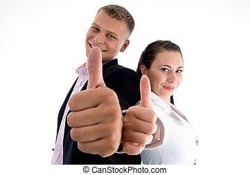 business partners showing thumbs up on an isolated...