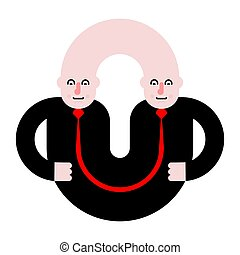 Business partners. Siamese twins. Fused people. Vector...