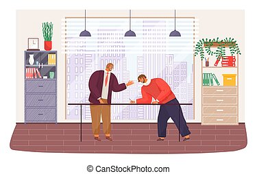 Conclude contrack. Bearded red-haired man in glasses, suit stands and holds his arm up. Young man in sweater leaned over table and signs document. Business meeting, signing agreement. Modern office