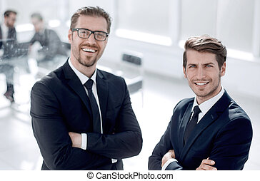 business partners standing in the office
