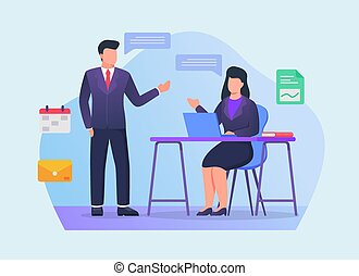 business partners team discussion between man and woman on office