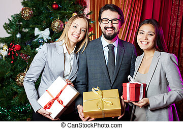 Business partners with gifts
