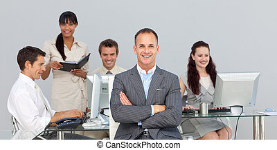 Business partners working with their manager