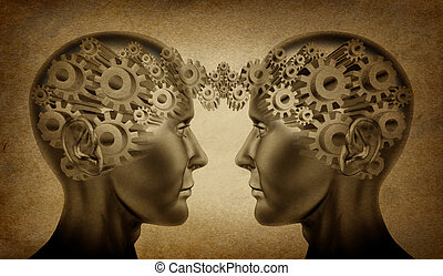 Business partnership and teamwork symbol represented by two human heads with gears connected together as a symbol of network referrals and relationships on an old grunge parchement background.