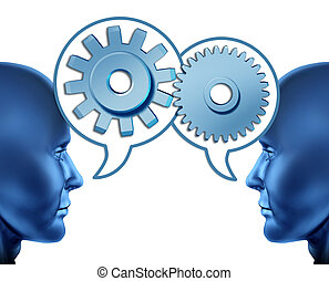 Business partnership and teamwork with two human heads sharing referrals to increase business opportunities represented by two faces talking with word bubbles with gears and cogs as symbols of networking.