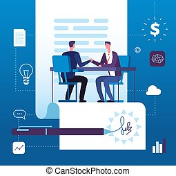Business partnership. Businessmen investors handshaking with agreement. Finance relationship, investment cooperation vector concept