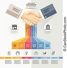 Business partnership connection concept. Business handshake and Infographics template. Vector illustration. Can be used for workflow layout, banner, diagram, web design template.