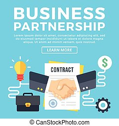 Business partnership, contract conclusion. Modern concepts, flat icons set and graphic elements for web banners, web design, infographics, printed materials. Flat design vector illustration