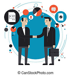 Business partnership flat illustration - Flat design style...