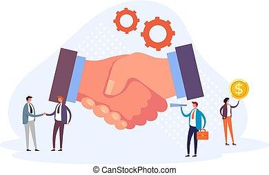 Business partnership handshake concept. Vector flat graphic design illustration