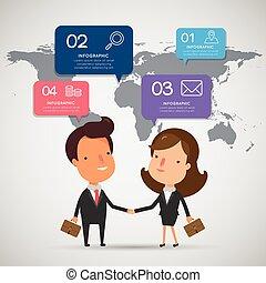 Business partnership handshake with modern infographic.