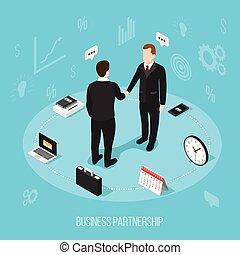 Business Partnership Isometric Background