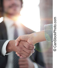 Business partnership meeting concept Silhouette and filter sun