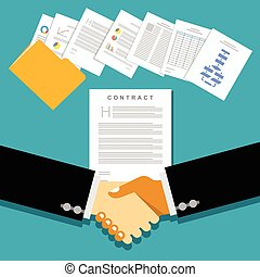 Business partnership meeting with document contracts or agreements.