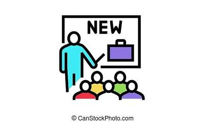 business partnership presentation animated color icon. business partnership presentation sign. isolated on white background