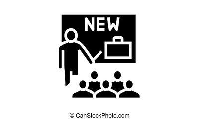 business partnership presentation animated glyph icon. business partnership presentation sign. isolated on white background