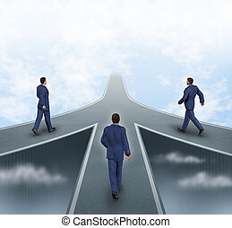 Business partnerships featuring three business men walking...