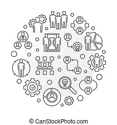 Business Partnerships vector round outline illustration