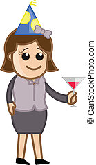 Business Party Girl Drinking - Drawing Art of Young Cartoon...