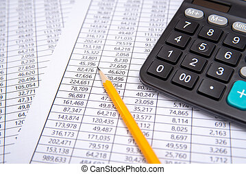 business pen, calculator and glasses on financial chart, business concept.