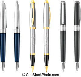 Business Pen Icon Set - Realistic business pen icon set with...